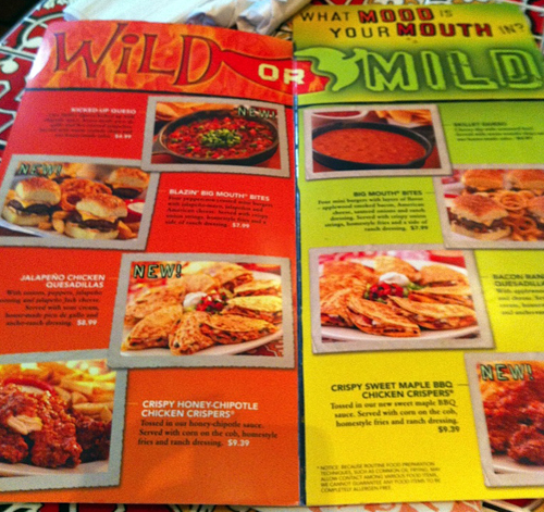 photo regarding Printable Chili's Menu titled Chilis Wild or Light Study Giveaway Frugal Starter