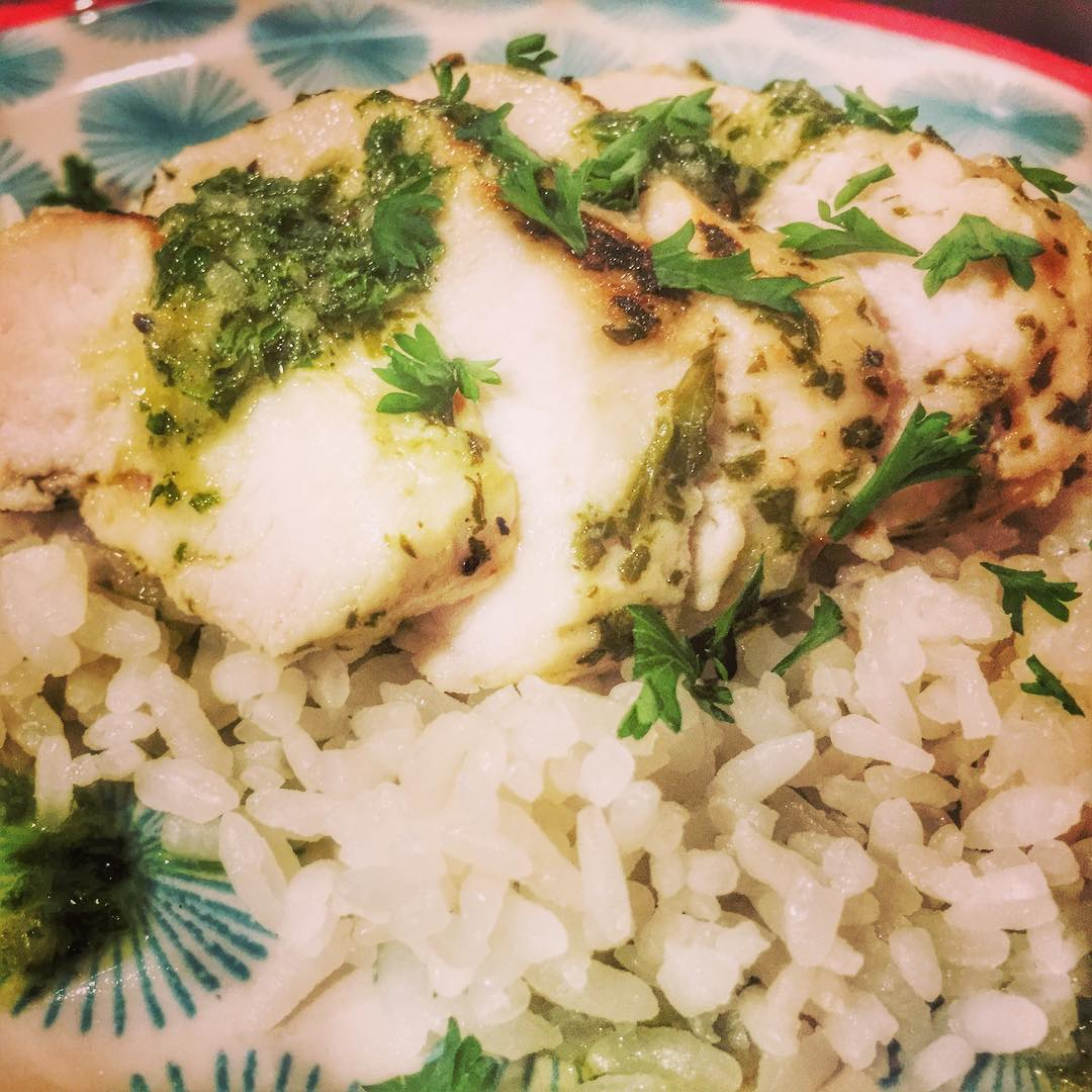 Made this amazing chicken with chimichurri sauce using our hamiltonbeachhellip