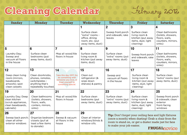 Cleaning Calendar February Free Printable Frugal Novice