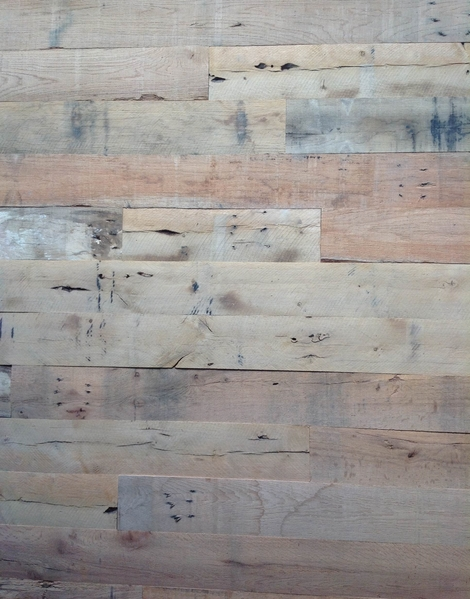 Diy reclaimed wood wall frugal novice for Reclaimed wood decking