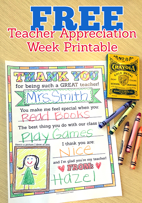 Classroom Ideas For Teacher Appreciation Week ~ Free printable for teacher appreciation week frugal novice