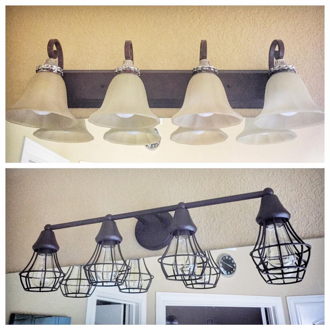 We changed our our old master bathroom lights top forhellip