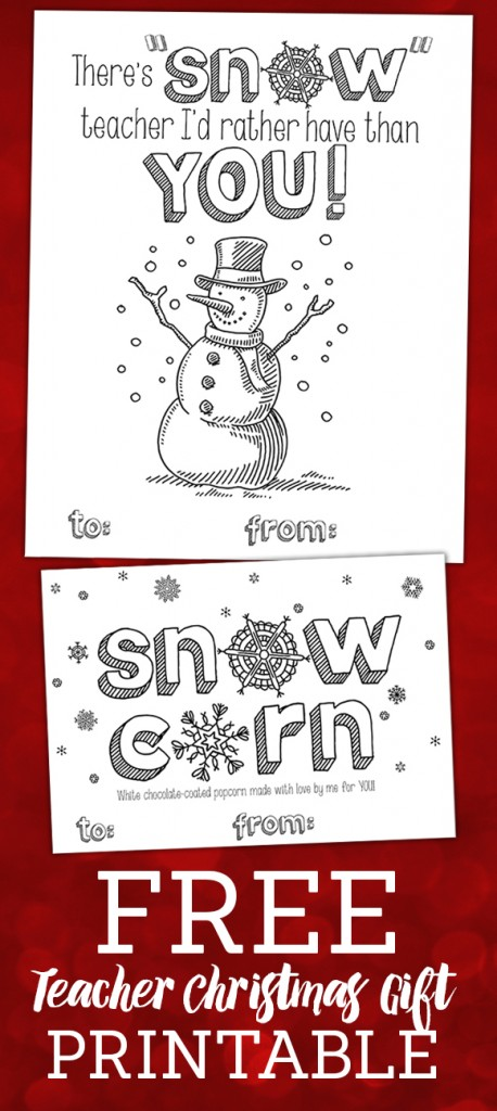 Free Teacher Christmas Gift Printables from Frugal Novice - so cute!