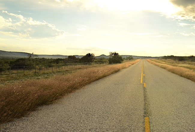 A old hwy travels through the southern Texas desert near San Antonio
