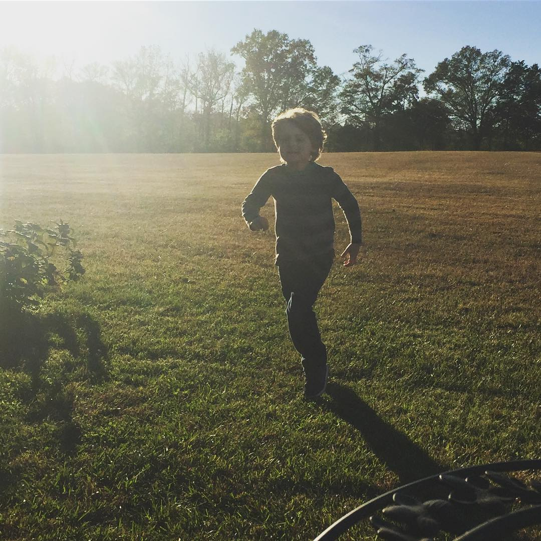 Love this pic of our 7 year old running outsidehellip