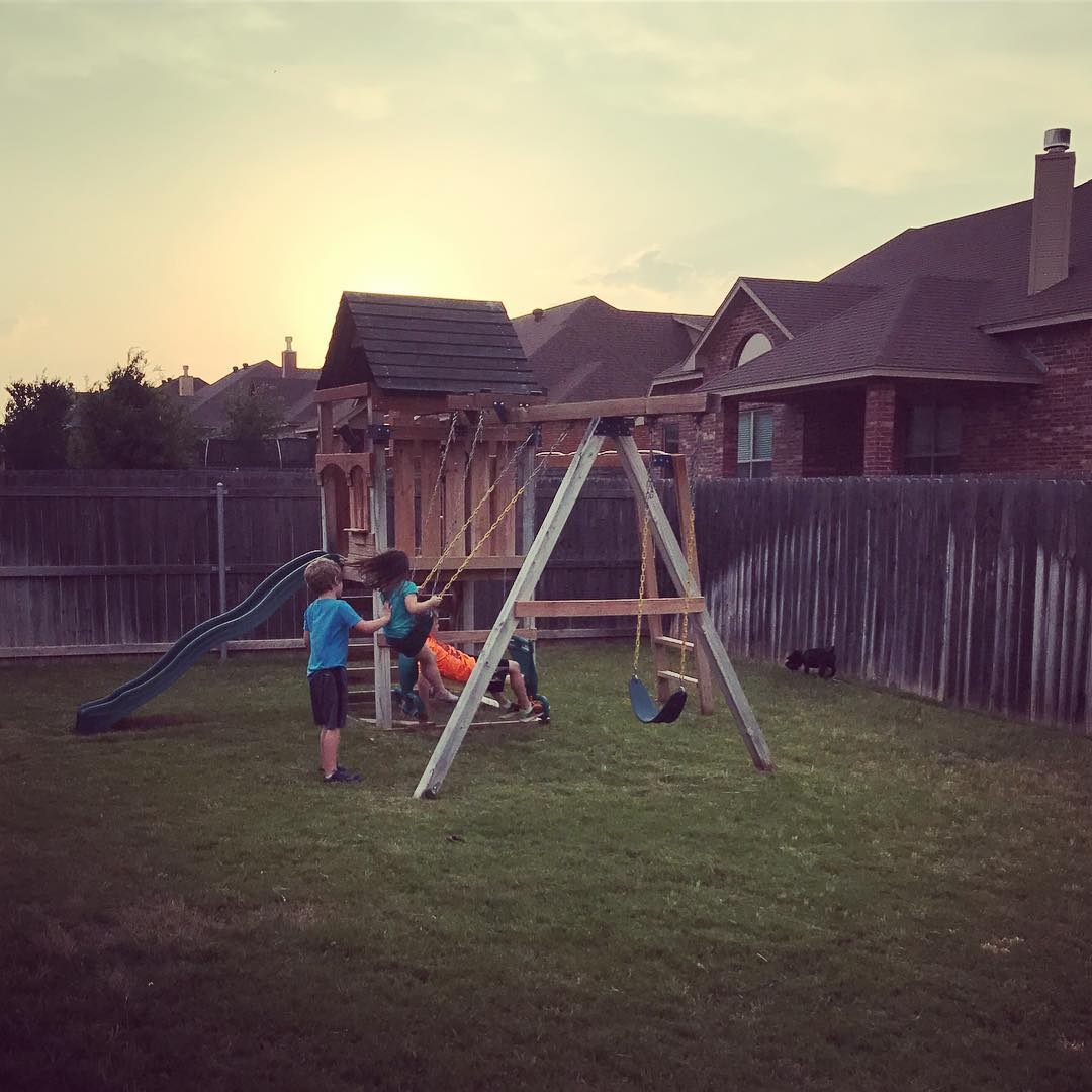 Nice cool temps made for perfect prebedtime swinging