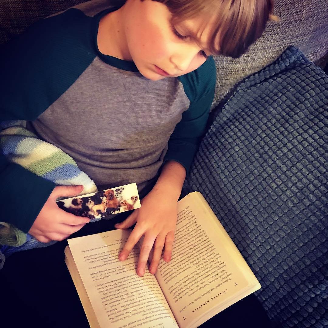 This kid has finally decided to read Harry Potter bookshellip