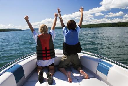 Kids having a blast on a boat!